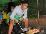 Cooking over an Open Fire on Maine Canoe and Camping Outing